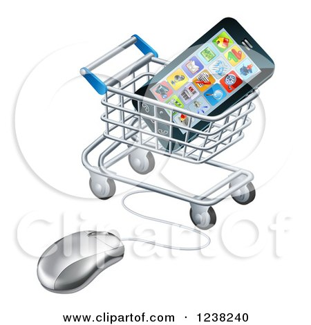 Clipart of a 3d Computer Mouse and Cart with a Smart Phone - Royalty Free Vector Illustration by AtStockIllustration