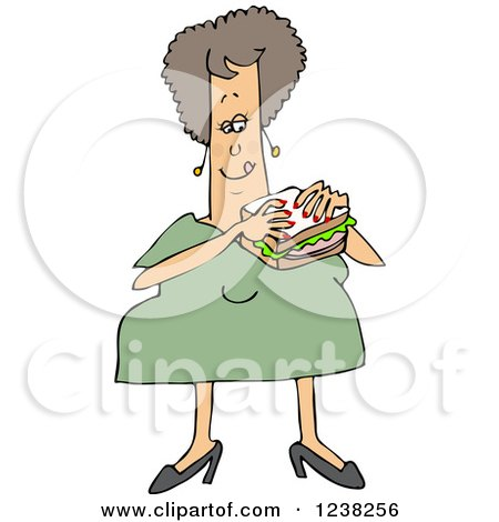 Clipart of a Chubby White Woman Eating a Bologna Sandwich - Royalty Free Vector Illustration by djart