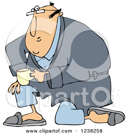 Clipart of a White Man Kneeling in a Robe, Holding Coffee - Royalty Free Vector Illustration by djart