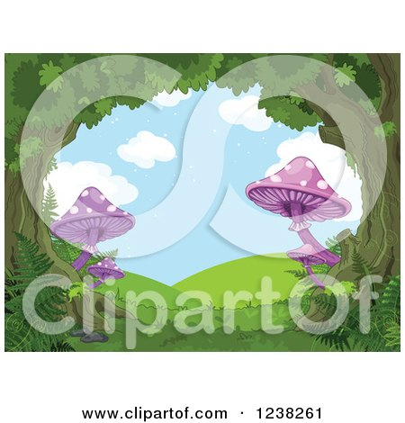 Clipart of a Fantasy Forest Tree Canopy and Mushrooms Forming a Scene of Hills - Royalty Free Vector Illustration by Pushkin