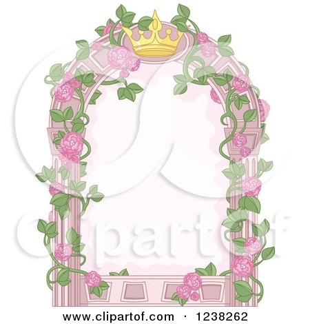 Clipart Of A Pink Princess Crown And Rose Vine Frame Royalty Free Vector Illustration