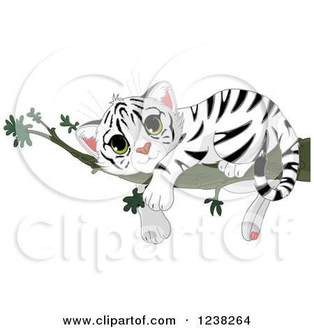 Clipart of a Cute White Tiger Cub Resting on a Tree Branch - Royalty Free Vector Illustration by Pushkin