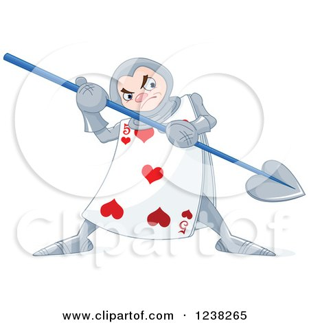 Clipart of an Alice in Wonderland Heart Playing Card Guard with a Spear - Royalty Free Vector Illustration by Pushkin