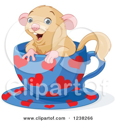 Clipart of a Cute Happy Dormouse Inside a Heart Patterned Tea Cup - Royalty Free Vector Illustration by Pushkin