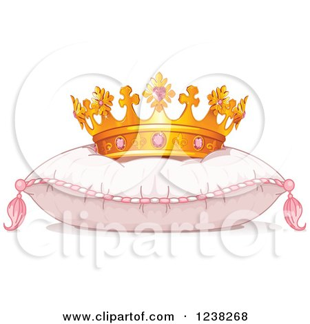 Clipart of a Princess Crown on a Pink Pillow - Royalty Free Vector Illustration by Pushkin