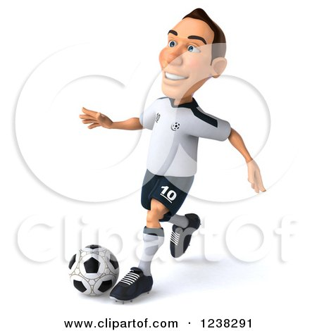 Clipart of a 3d German Soccer Player in Action 2 - Royalty Free Illustration by Julos