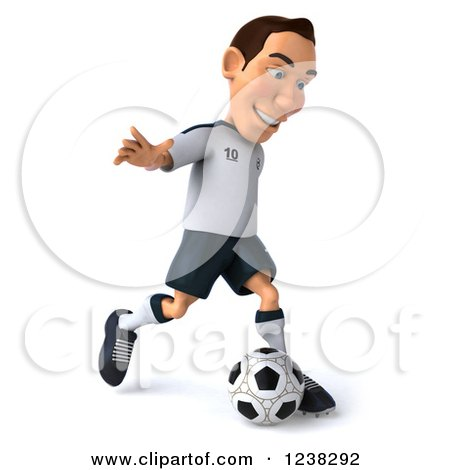 Clipart of a 3d German Soccer Player in Action 3 - Royalty Free Illustration by Julos