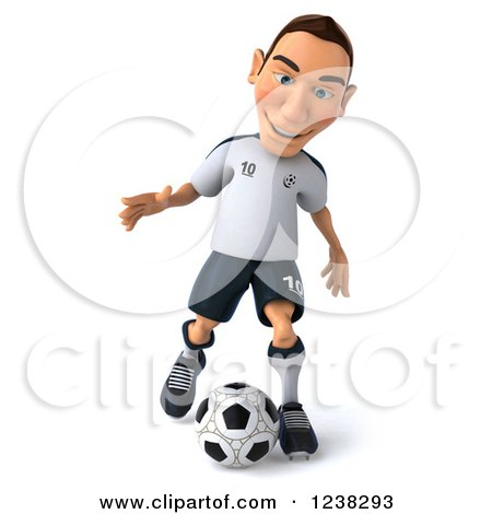 Clipart of a 3d German Soccer Player in Action - Royalty Free Illustration by Julos