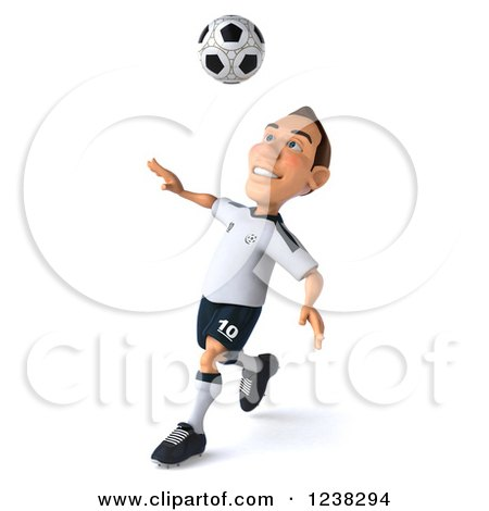 Clipart of a 3d German Soccer Player in Action 4 - Royalty Free Illustration by Julos