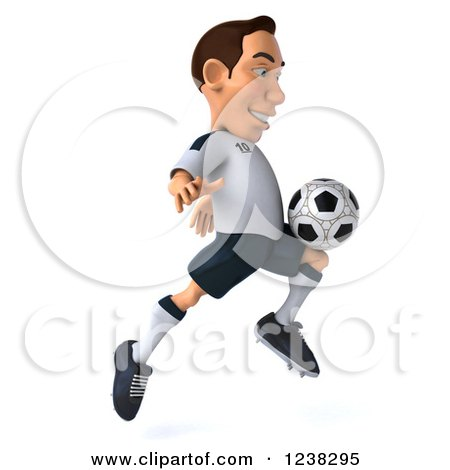 Clipart of a 3d German Soccer Player in Action 5 - Royalty Free Illustration by Julos