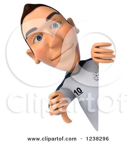 Clipart of a 3d German Soccer Player Holding a Thumb down Around a Sign - Royalty Free Illustration by Julos