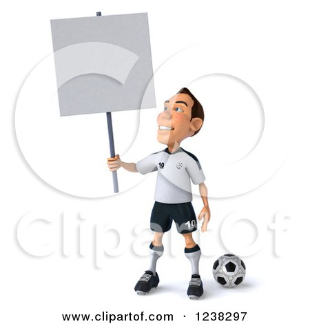Clipart of a 3d German Soccer Player Holding a Sign - Royalty Free Illustration by Julos