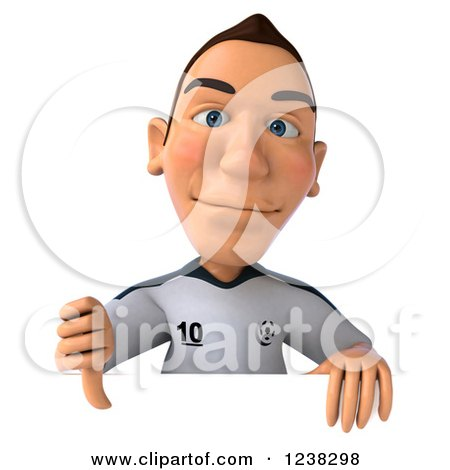 Clipart of a 3d German Soccer Player Holding a Thumb down over a Sign - Royalty Free Illustration by Julos