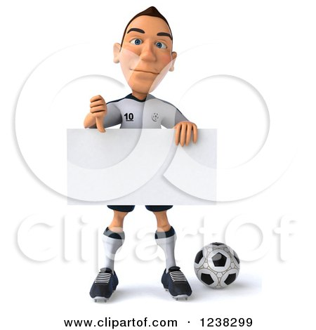 Clipart of a 3d German Soccer Player Holding a Thumb down and Sign - Royalty Free Illustration by Julos