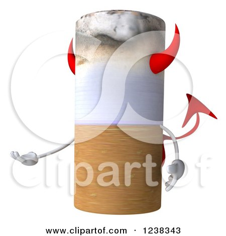 Clipart of a 3d Devil Tobacco Cigarette Presenting - Royalty Free Illustration by Julos