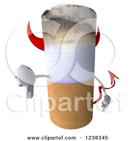 3d Devil Tobacco Cigarette Holding a Thumb down Posters, Art Prints