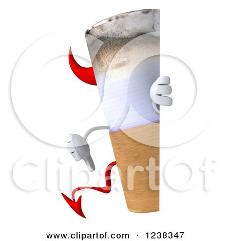Clipart of a 3d Devil Cigarette Holding a Thumb down Around a Sign - Royalty Free Illustration by Julos