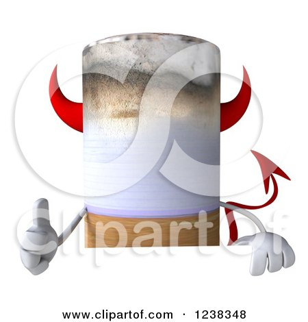 Clipart of a 3d Devil Cigarette Holding a Thumb up over a Sign - Royalty Free Illustration by Julos