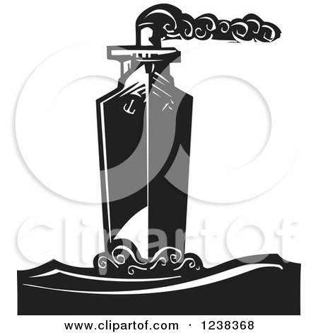 Clipart of a Woodcut Steam Ship in Black and White - Royalty Free Vector Illustration by xunantunich