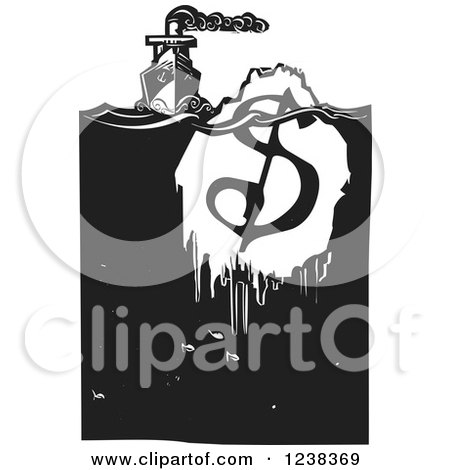 Clipart of a Woodcut Steam Ship with a Dollar Iceberg, in Black and White - Royalty Free Vector Illustration by xunantunich
