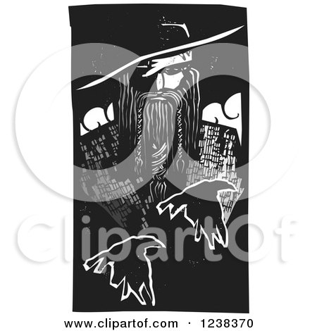 Clipart of a Woodcut Norse God Odin with Flying Ravens - Royalty Free Vector Illustration by xunantunich