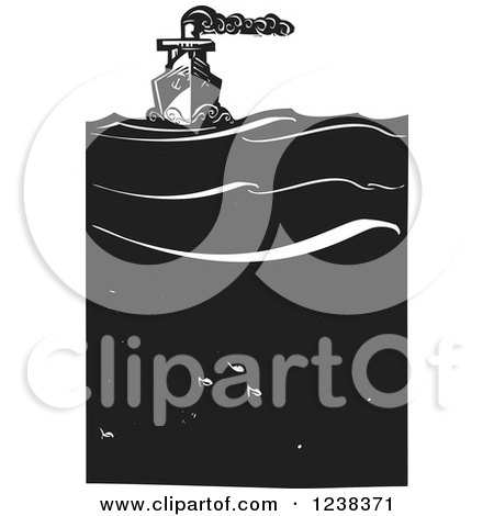 Clipart of a Woodcut Steam Ship over Fish in the Ocean, in Black and White - Royalty Free Vector Illustration by xunantunich