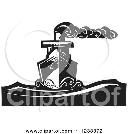 Clipart of a Woodcut Steam Ship on the Sea, in Black and White - Royalty Free Vector Illustration by xunantunich