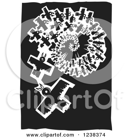 Clipart of Black and White Woodcut Spiraling Birds - Royalty Free Vector Illustration by xunantunich