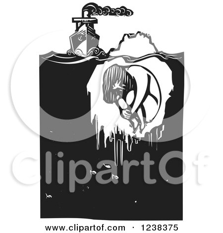 Clipart of a Woodcut Steam Ship with a Frozen Girl in an Iceberg, in Black and White - Royalty Free Vector Illustration by xunantunich