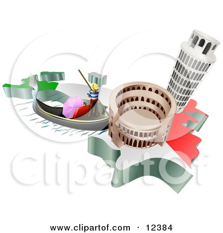 Tourist Attractions of the Leaning Tower of Pisa, Roman Coliseum Flavian Amphitheatre and Venice Italy Gondola and Italian Flag Clipart Illustration by AtStockIllustration