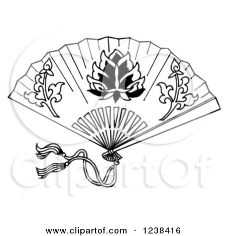 clipart of a black and white decorative asian fan royalty free