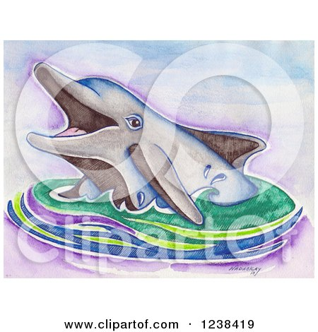 Clipart of a Sketched Happy Dolphin in Water - Royalty Free Illustration by LoopyLand