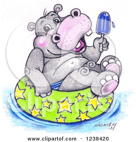 Clipart of a Cute Sketched Hippo Holding a Popsicle and Floating in an Inner Tube - Royalty Free Illustration by LoopyLand
