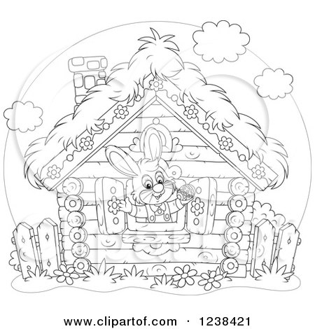 Clipart of a Black and White Bunny Rabbit in a Log Cabin Window - Royalty Free Vector Illustration by Alex Bannykh