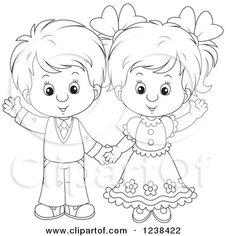 Clipart of a Black and White Wedding or Easter Kid Couple Waving - Royalty Free Vector Illustration by Alex Bannykh