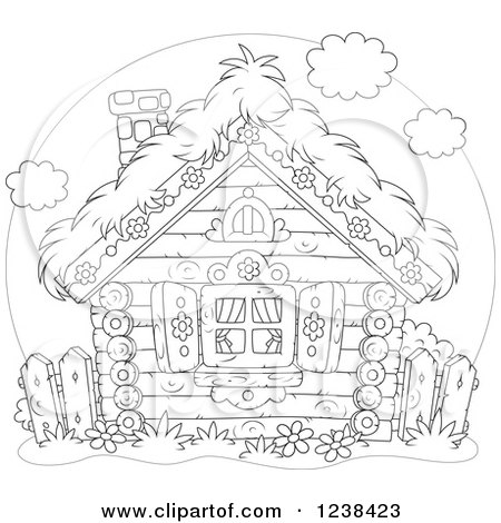 Clipart of a Black and White Log Cabin with a Straw Roof - Royalty Free Vector Illustration by Alex Bannykh