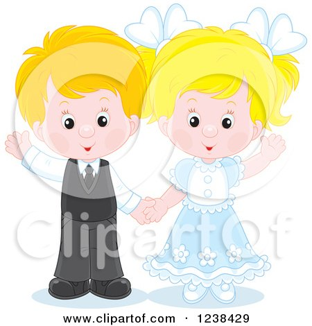 Clipart of a Caucasian Wedding or Easter Kid Couple Waving - Royalty Free Vector Illustration by Alex Bannykh