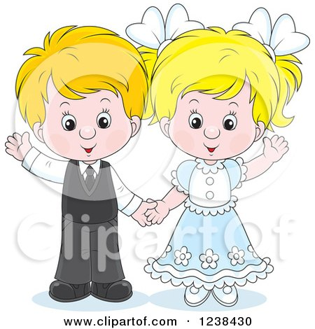 Clipart of a Wedding or Easter Kid Couple Waving - Royalty Free Vector Illustration by Alex Bannykh