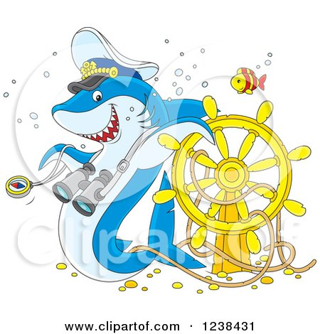 Clipart of a Blue Shark Captain and Fish over a Sunken Helm - Royalty Free Vector Illustration by Alex Bannykh