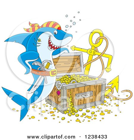 Clipart of a Blue Pirate Shark by Sunken Treasure - Royalty Free Vector Illustration by Alex Bannykh