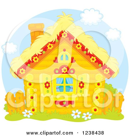 Clipart of a Cute Log Cabin with a Straw Roof - Royalty Free Vector Illustration by Alex Bannykh