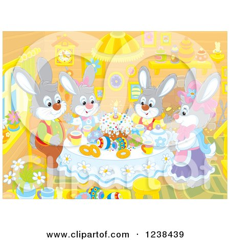 Clipart of a Rabbit Family Having Easter Cake in a Cabin - Royalty Free Vector Illustration by Alex Bannykh