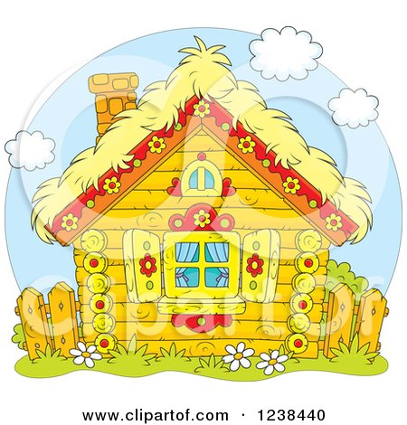 Clipart of a Cute Log Cabin with a Hay Roof - Royalty Free Vector Illustration by Alex Bannykh