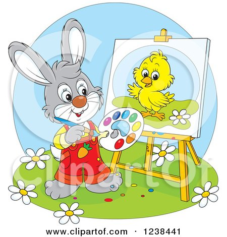 Clipart of a Gray Rabbit Painting a Chick on a Canvas - Royalty Free Vector Illustration by Alex Bannykh