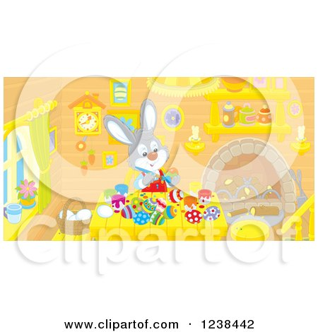 Clipart of a Bunny Rabbit Painting Easter Eggs at a Table - Royalty Free Vector Illustration by Alex Bannykh