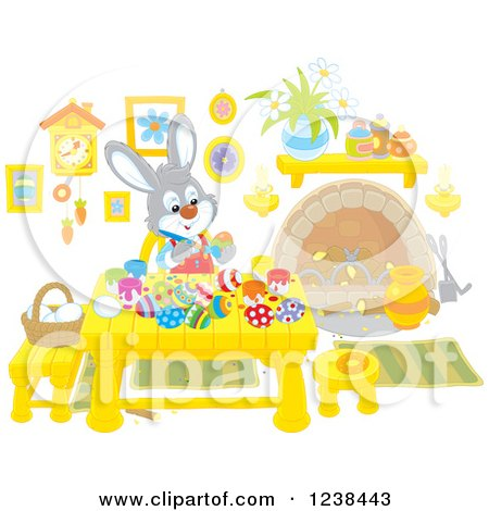 Clipart of a Rabbit Painting Easter Eggs at a Table - Royalty Free Vector Illustration by Alex Bannykh