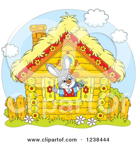 Clipart of a Gray Bunny Rabbit in a Log Cabin Window - Royalty Free Vector Illustration by Alex Bannykh