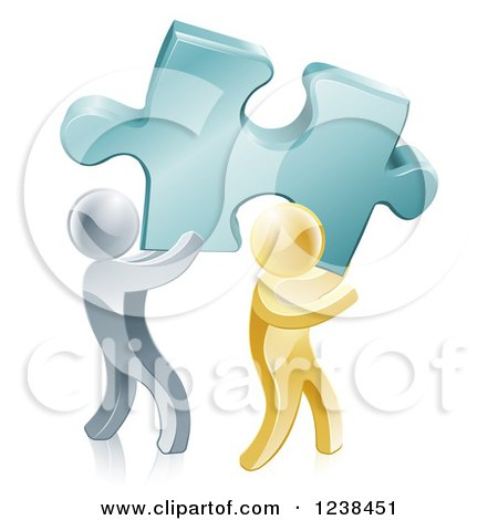 Clipart of 3d Gold and Silver Men Carrying a Large Solution Puzzle Piece - Royalty Free Vector Illustration by AtStockIllustration