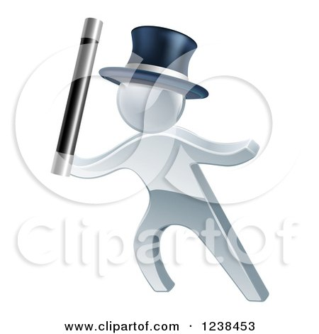 Clipart of a 3d Silver Man Magician - Royalty Free Vector Illustration by AtStockIllustration