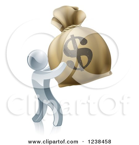 Clipart of a 3d Silver Man Holding up a Large Dollar Money Bag - Royalty Free Vector Illustration by AtStockIllustration
